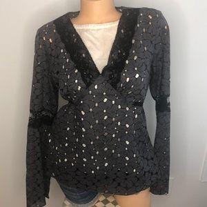 INC V-Neck Black Lace Flowered Shirt